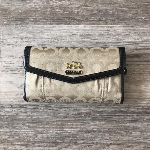 30e2719e Brown & Tan Signature Coach wallet